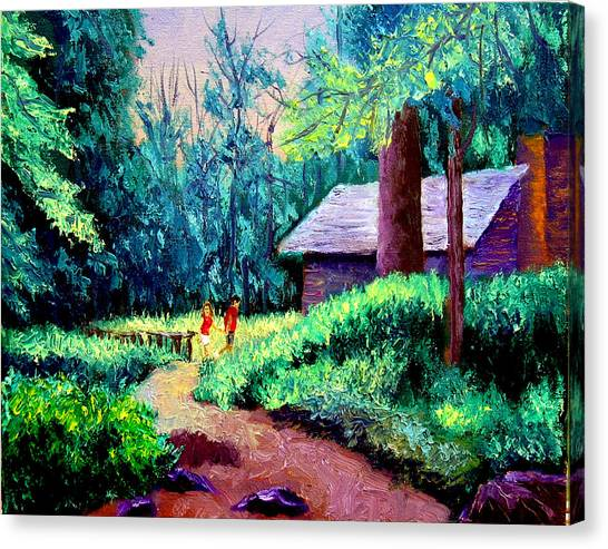 Cabin In Woods Canvas Print by Stan Hamilton