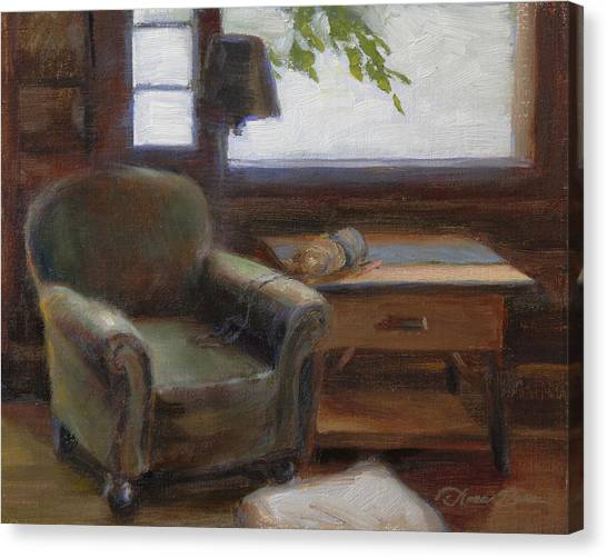 Old Canvas Print - Cabin Interior With Yarn by Anna Rose Bain