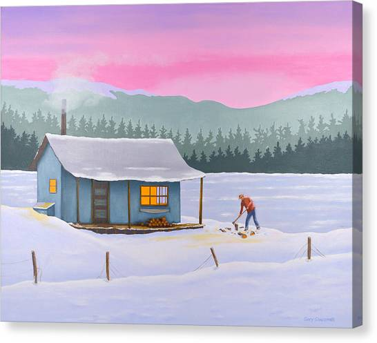 Cabin On A Frozen Lake Canvas Print