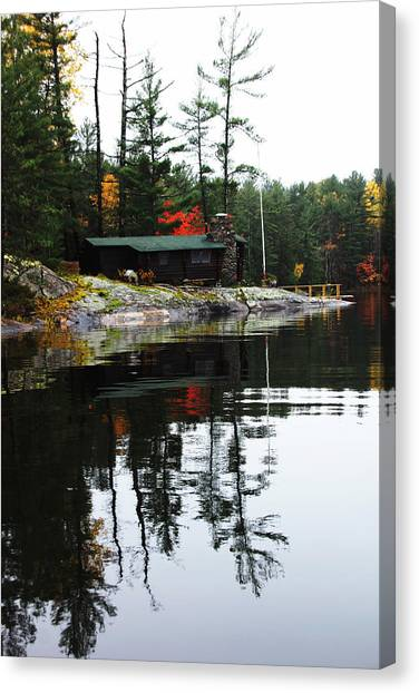 Cabin On The Rocks Canvas Print