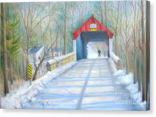 Cabin Run Bridge In Winter Canvas Print