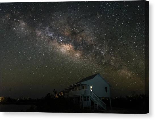 Cabin Under The Milky Way Canvas Print
