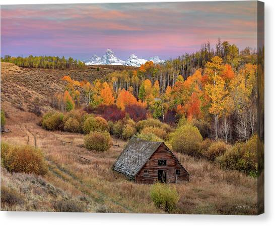 Canvas Print featuring the photograph Cabin Under The Tetons by Leland D Howard