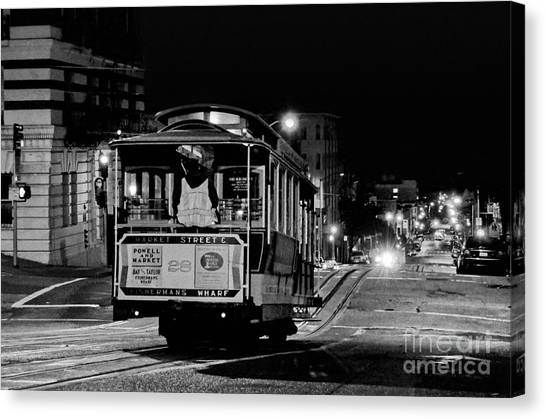 Cable Car At Night - San Francisco Canvas Print