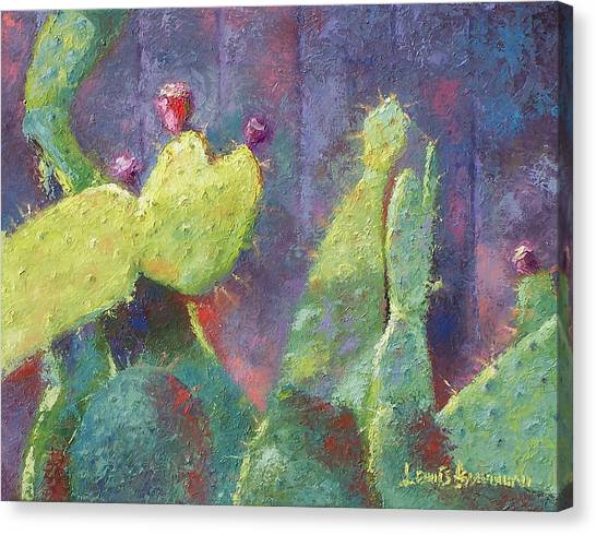 Prickly Pear Cactus Against Fence Canvas Print
