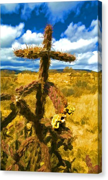 Cactus Cross Canvas Print