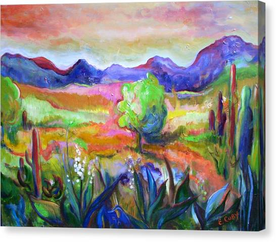 Cactus Spring Canvas Print by Elaine Cory