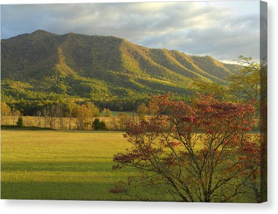 Cades Cove Autumn Sunset In Great Smoky Mountains Canvas Print by Darrell Young