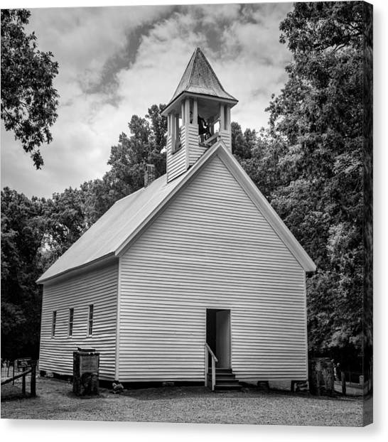 Fundamentalism Canvas Print - Cades Cove Primitive Baptist Church - Bw 1 by Stephen Stookey