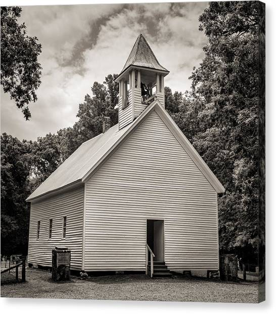 Fundamentalism Canvas Print - Cades Cove Primitive Baptist Church - Toned Bw by Stephen Stookey