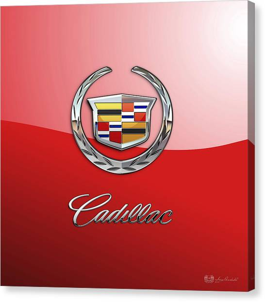 Automobiles Canvas Print - Cadillac - 3 D Badge On Red by Serge Averbukh