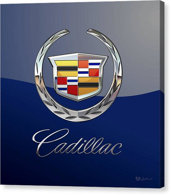 Cadillac 3 D  Badge Special Edition On Blue Canvas Print