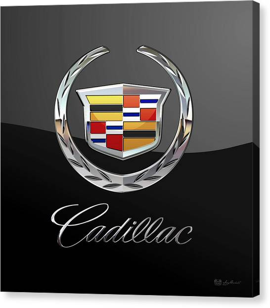 Automobiles Canvas Print - Cadillac - 3 D Badge On Black by Serge Averbukh