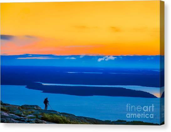 Linda King Canvas Print - Cadillac Mountain Sunrise Scene 3538 Option 2 by Linda King
