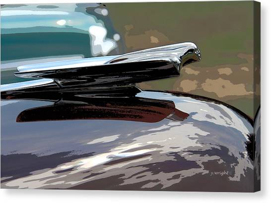 Hoodie Canvas Print - Cadillac La Salle - 1949 Hood Ornament by Yvonne Wright