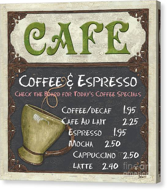 Cafes Canvas Print - Cafe Chalkboard by Debbie DeWitt
