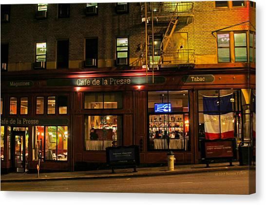 Cafe De La Presse On Bush St Canvas Print
