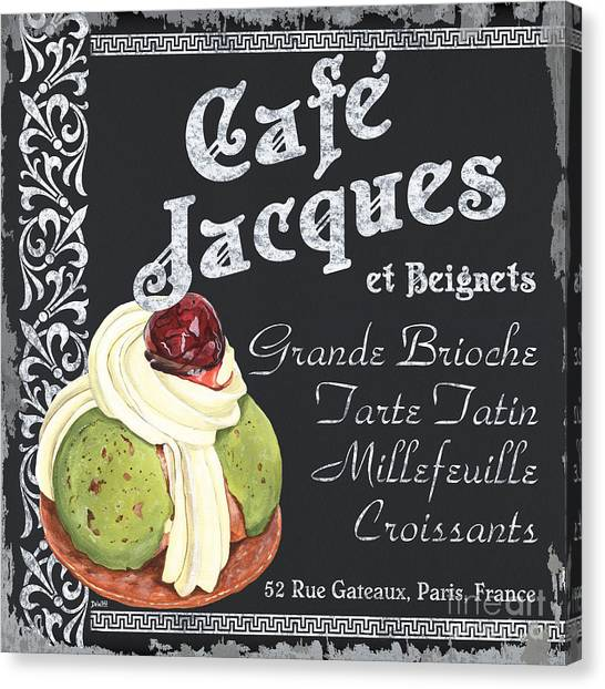 Greek Canvas Print - Cafe Jacques by Debbie DeWitt