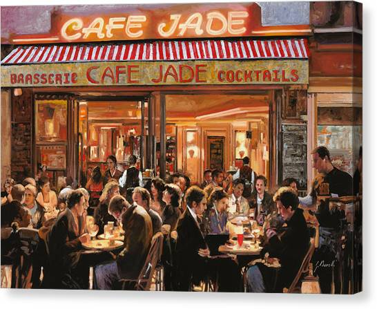 Street Scenes Canvas Print - Cafe Jade by Guido Borelli