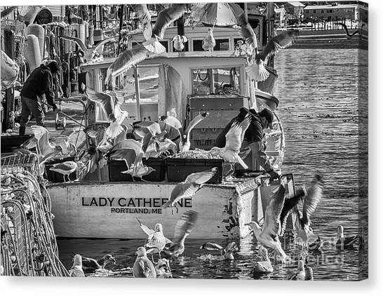 Cafe Lady Catherine Black And White Canvas Print