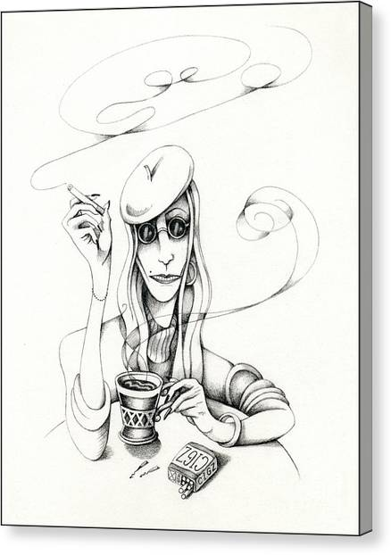Cafe Lady Canvas Print