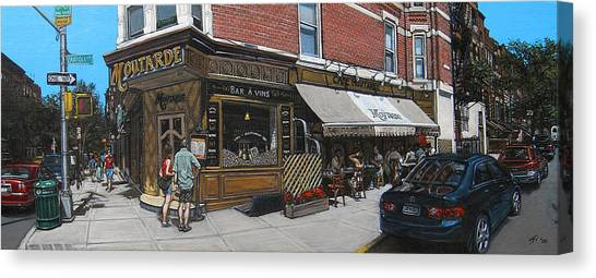 Cafe Moutarde Canvas Print by Ted Papoulas