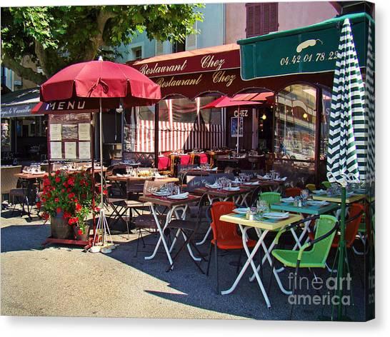 Cafe Scene In France Canvas Print