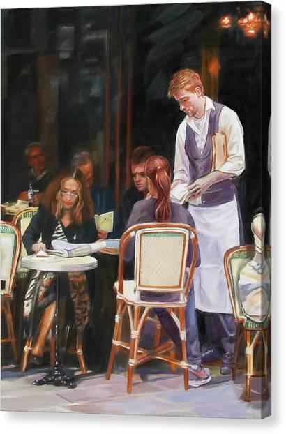 Cafe Scene In Paris Canvas Print by Dominique Amendola