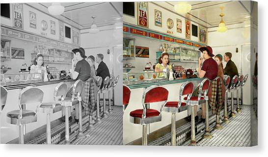Stuffing Canvas Print - Cafe - The Local Hangout 1941 - Side By Side by Mike Savad