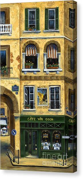 Flower Shop Canvas Print - Cafe Van Gogh Paris by Marilyn Dunlap