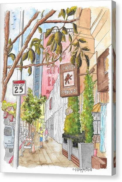 Cafee Primo In Sunset Plaza, West Hollywood, California Canvas Print