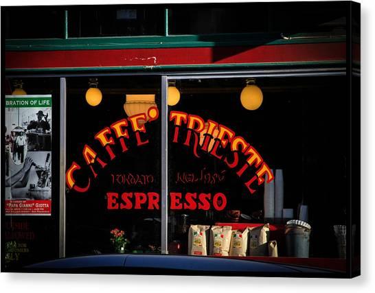 Caffe Trieste Espresso Window Canvas Print