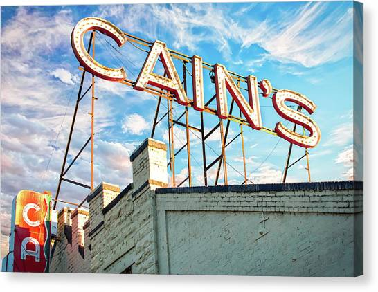 Canvas Print featuring the photograph Cains Ballroom Music Hall - Downtown Tulsa Cityscape by Gregory Ballos