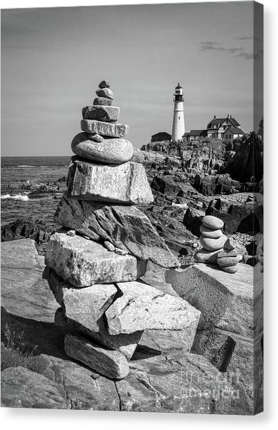 Cairn And Lighthouse  -56052-bw Canvas Print