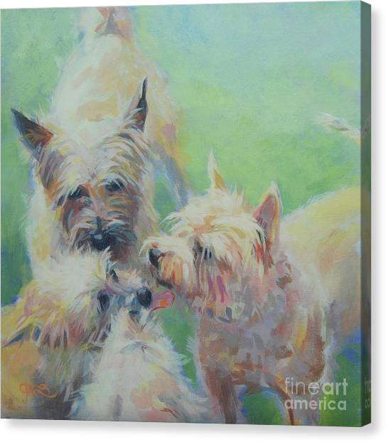 Cairn Terrier Canvas Print - Cairn Kisses by Kimberly Santini
