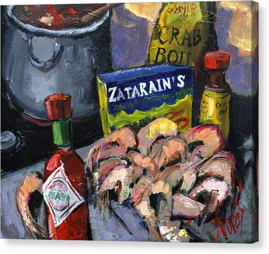 Hot Sauce Canvas Print - Cajun Boil by Carole Foret