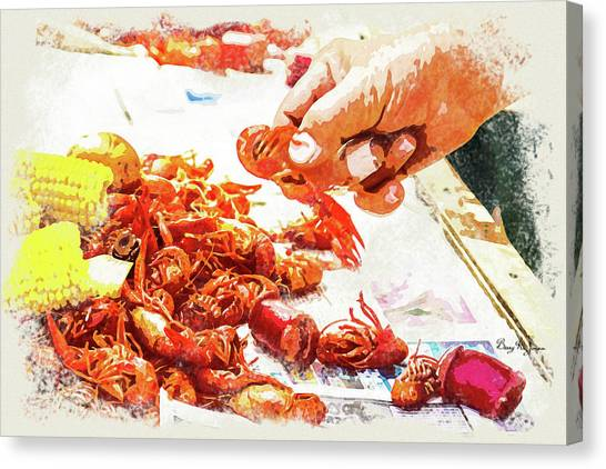 Canvas Print featuring the digital art Cajun Cooked Crawfish by Barry Jones