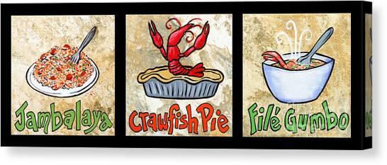 Gumbo Canvas Print - Cajun Food Trio by Elaine Hodges