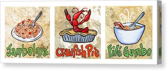 Gumbo Canvas Print - Cajun Food Trio White Border by Elaine Hodges