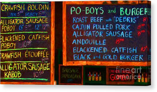 Cajun Menu Alligator Sausage Poboy - 20130119 Canvas Print