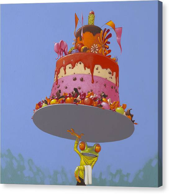 Happy Birthday Canvas Print - Cake by Jasper Oostland