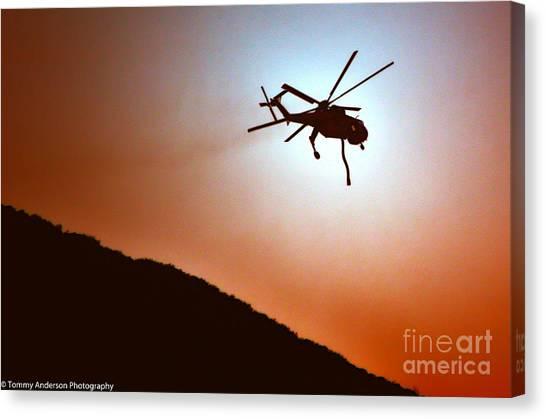 Skycrane Canvas Print - Cal Fire Skycrane by Tommy Anderson