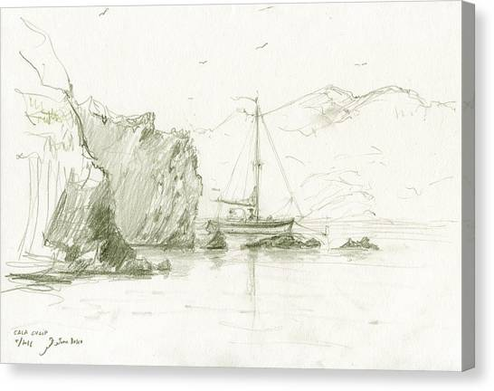 Fishing Boats Canvas Print - Cala Culip Cap De Creus by Juan Bosco