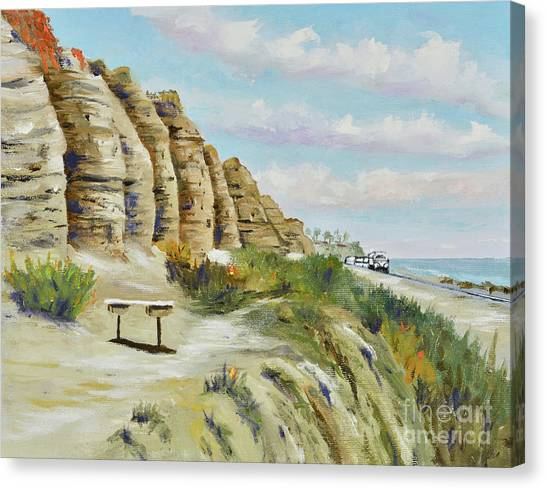 Canvas Print featuring the painting Calafia Beach Trail by Mary Scott
