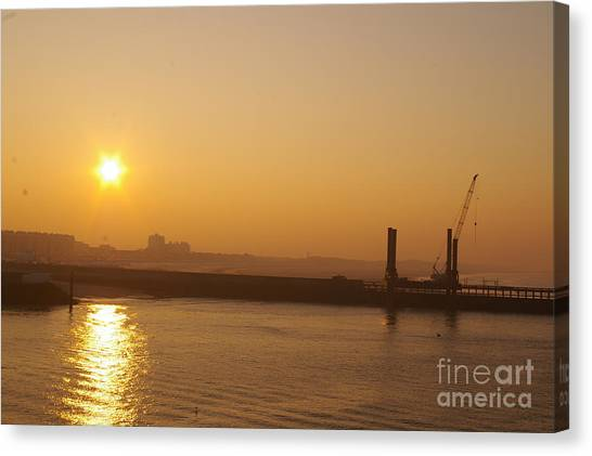 Calais Harbour Canvas Print by Catja Pafort
