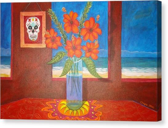 Calavera In Paradise Canvas Print