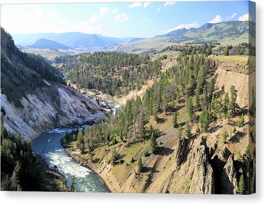 Calcite Springs Along The Bank Of The Yellowstone River Canvas Print