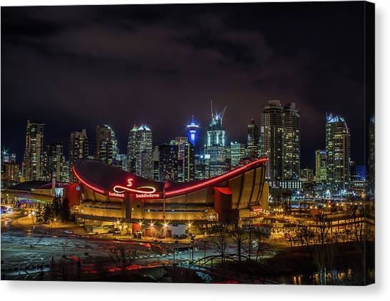 Calgary Flames Canvas Print - Calgary And The Saddledome At Night by Jay Smith