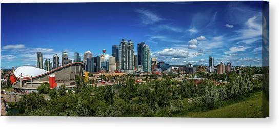 Calgary Flames Canvas Print - Calgary City And  Saddledome by Jane Dobbs