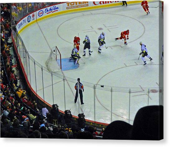 Pittsburgh Penguins Canvas Print - Calgary Flames Home Opener by Al Bourassa